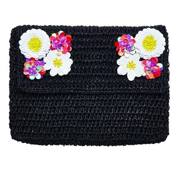 BSB1731 - WOMENS PAPER CLUTCH WITH FLOWER DETAIL ON FLAP  -  BLACK   -  WOMENS O/S