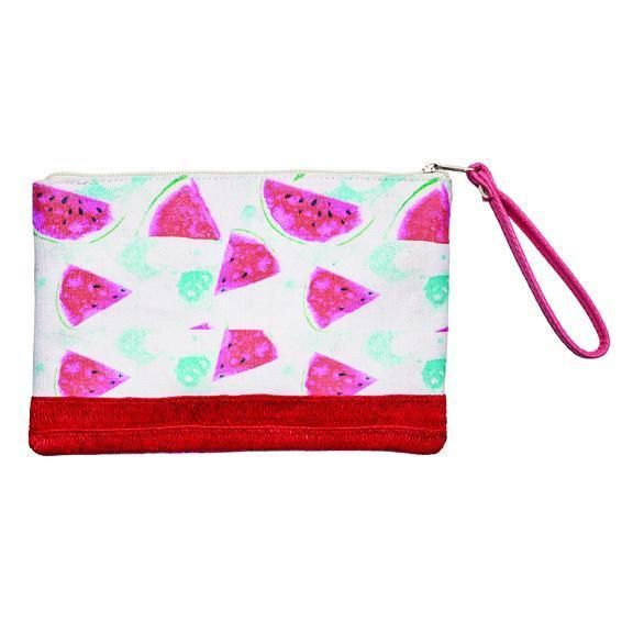 BSB1719-WOMENS COTTON CLUTCH WITH FLAMINGO PRINT  -  RED   -  WOMENS O/S
