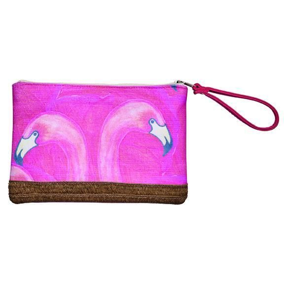 BSB1719-WOMENS COTTON CLUTCH WITH FLAMINGO PRINT  -  PINK   -  WOMENS O/S