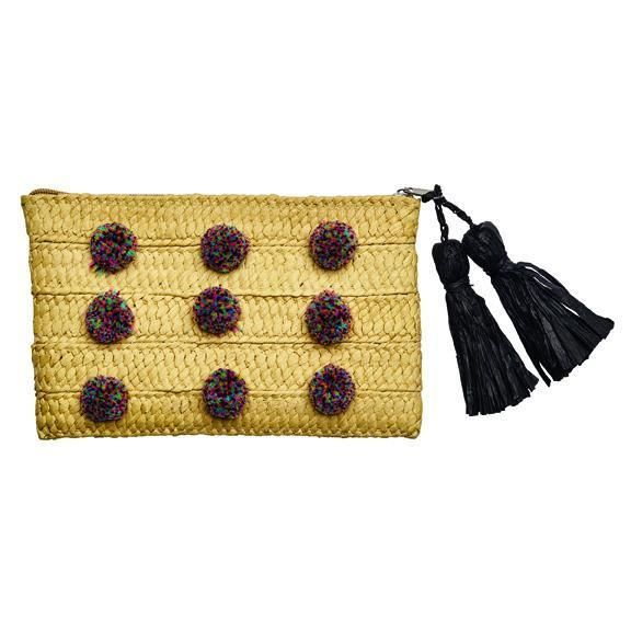 BSB1717-WOMENS CLUTCH WITH POMS  -  NATURAL   -  WOMENS O/S
