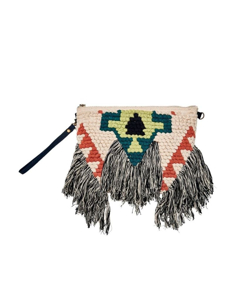BSB3543-WOVEN CLUTCH WITH FRINGE  -  NATURAL   -  WOMENS O/S