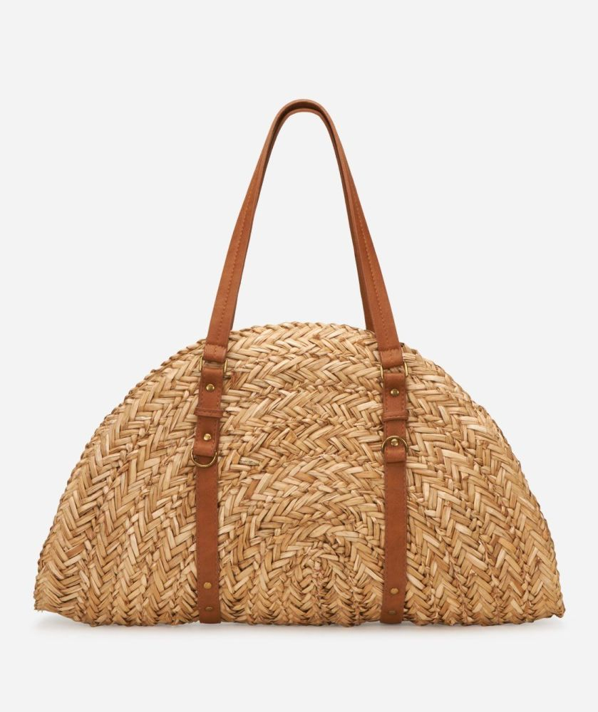 BSB1358-WOMENS  WOVEN STRAW BAG  -  NATURAL   -  WOMENS O/S