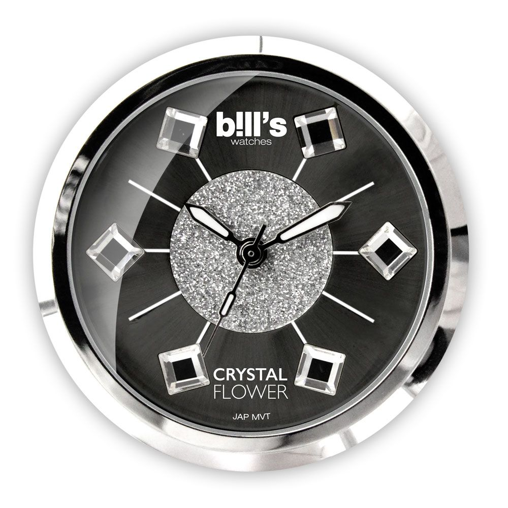 Bills Watches: Classic Collection - Dials - Crystal Flower - Black - Made With Swarovski Elements
