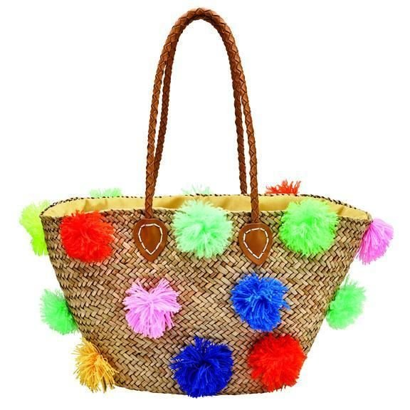BSB1566 - WOMENS SEAGRASS TOTE WITH MULTI COLORED POMS AND PLEATHER HANDLE  -  NATURAL   -  WOMENS O/S