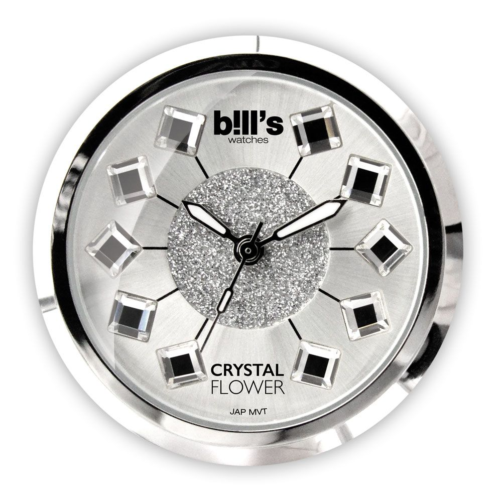 Bills Watches: Classic Collection - Dials - Crystal Flower - Silver - Made With Swarovski Elements