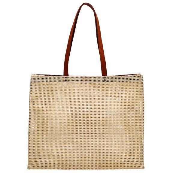 BSB1730-WOMENS POLY MESH TOTE WITH PLEATHER HANDLE  -  NATURAL   -  WOMENS O/S