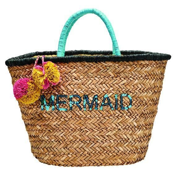BSB1729-WOMENS SEAGRASS TOTE WITH MERMAID EMBROIDERY WITH POM  -  NATURAL   -  WOMENS O/S