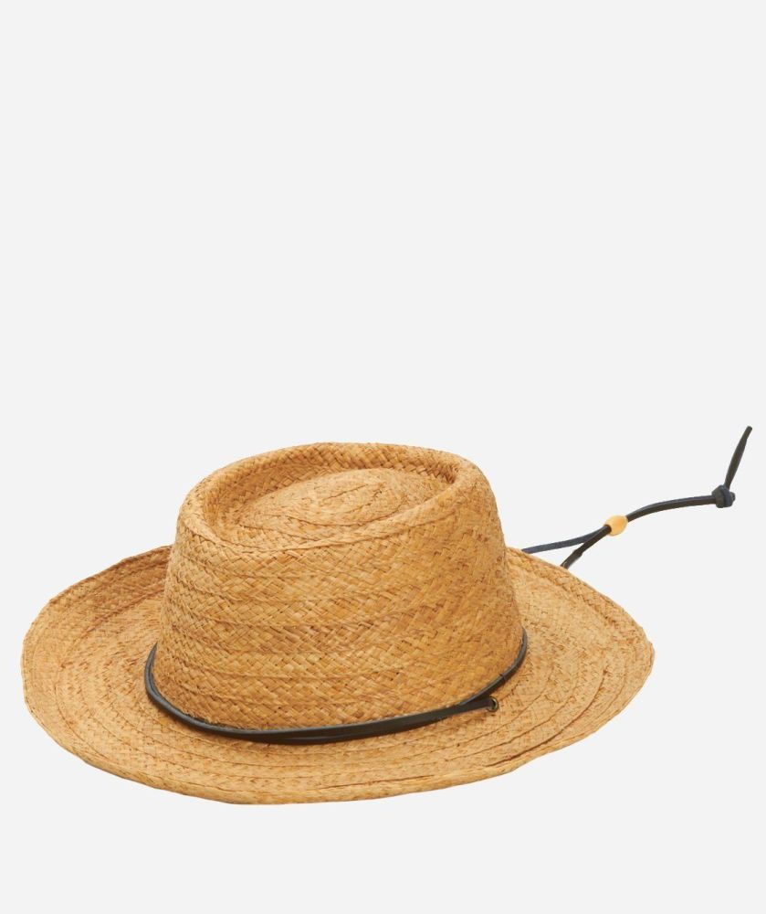 RHM6002OSNAT-MENS STRAW GAMBLER W/LEATHER CHIN CORD  -  NATURAL   -  MENS O/S