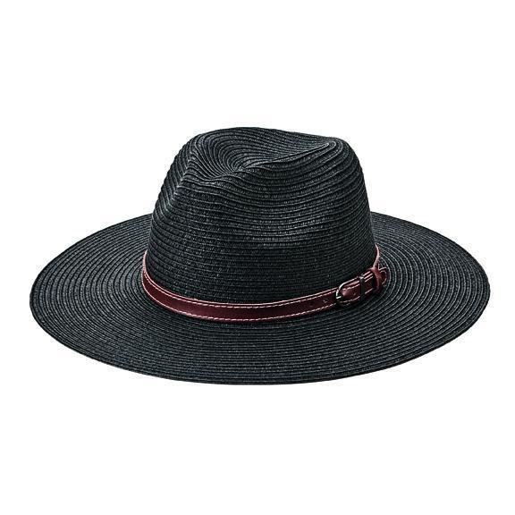 PBF7339OSBLK- Women's fedora with faux leather band with buckle  -  WOMENS O/S