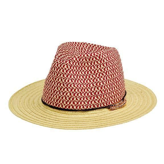 PBF7313OSRED- WOMENS FEDORA W/GOLD RING TRIM  -  RED   -  WOMENS O/S