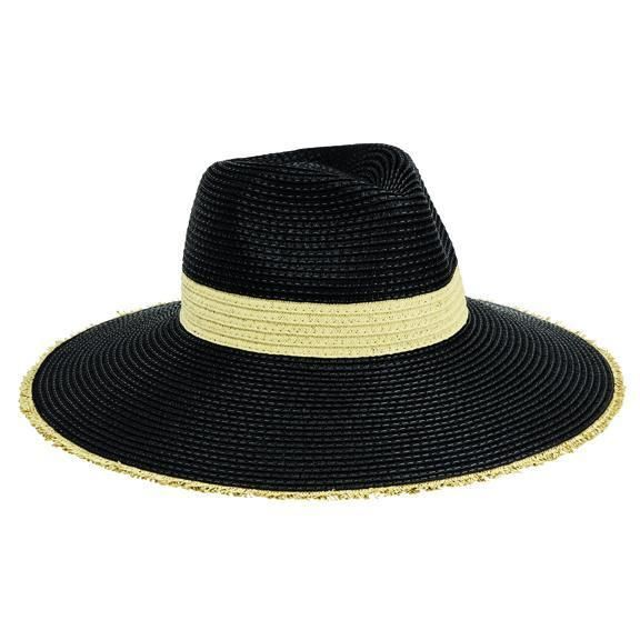 PBF7310OSBLK- WOMENS FEDORA W/ NATURAL INSET AND FRAYED EDGE  -  BLACK   -  WOMENS O/S