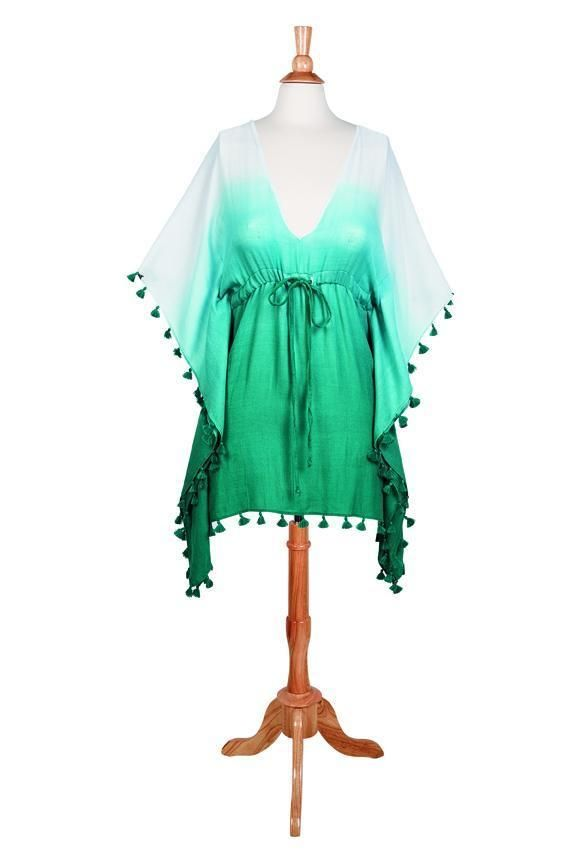 BST1802-WOMENS WOVEN DIP DYE CINCHED WAIST TUNIC WITH TASSELS  -  blue   -  WOMENS O/S