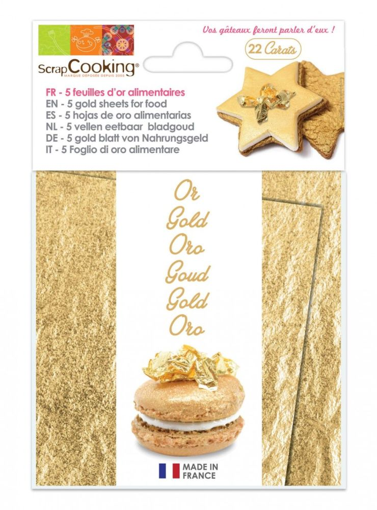 Scrap Cooking: Book of five 22 carats gold leaves. MOQ 5 Units @ £22.25 per unit 4300