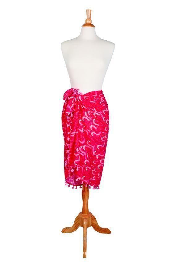 BSS1808-WOMENS WOVEN FLAMINGO PRINT SARONG  -  pink   -  WOMENS O/S