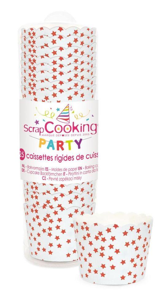 """Scrap Cooking: 25 Baking cups """"red stars"""". MOQ 10 Units @ £2.66 per unit 0242"""
