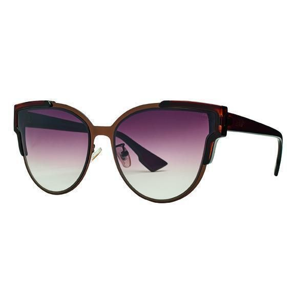 BSG1026 - WOMENS METAL FRAME WITH PLASTIC ARMS SUNGLASSES  -  BROWN   -  WOMENS O/S