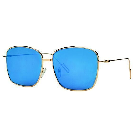 BSG1034 - WOMENS METAL WITH MIRROR LENS SUNGLASSES  -  GOLD   -  WOMENS O/S