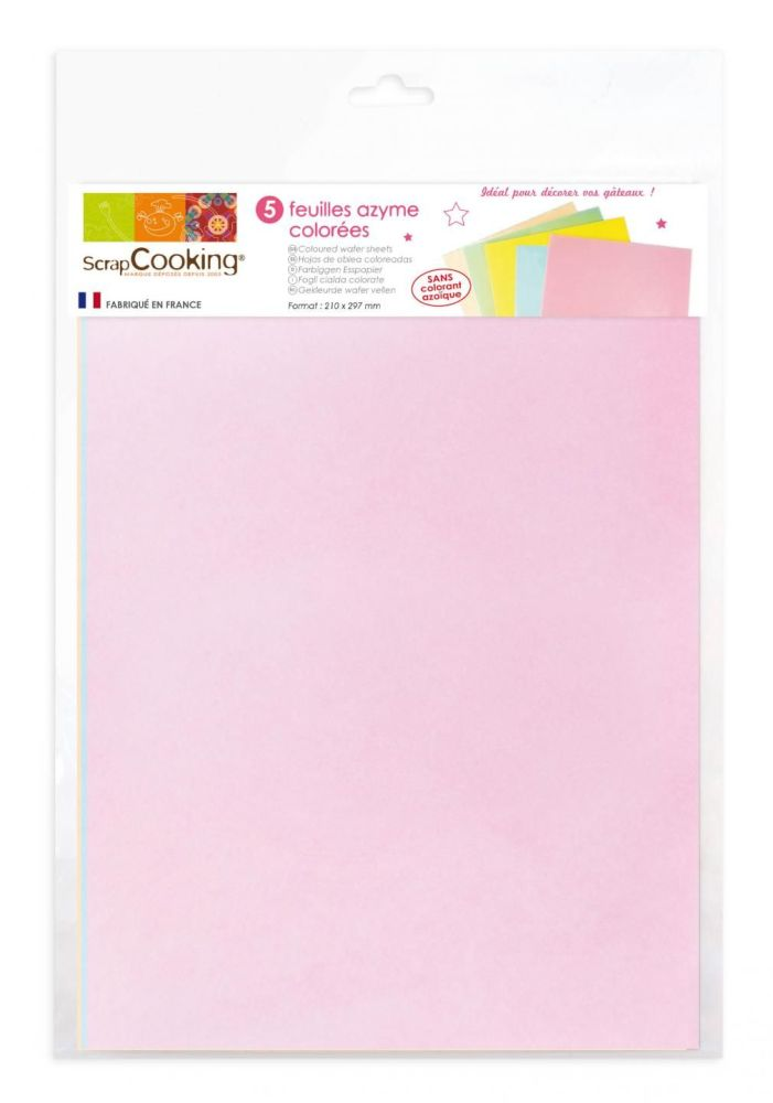 Scrap Cooking: 5 couloured wafer sheets. MOQ 5 Units @ £5.35 per unit 7304