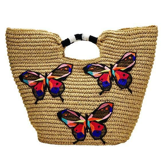 BSB1728-WOMENS PAPER TOTE WITH BUTTERFLY EMBROIDERY  -  NATURAL   -  WOMENS O/S