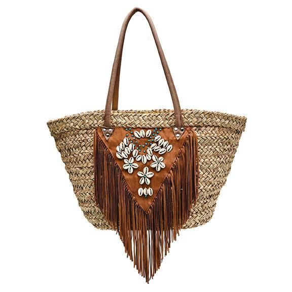 BSB1727-WOMENS SEAGRASS TOTE WITH FAUX SUEDE FRINGE AND SHELLS AND TURQUOISE DETAILS  -  NATURAL   -  WOMENS O/S
