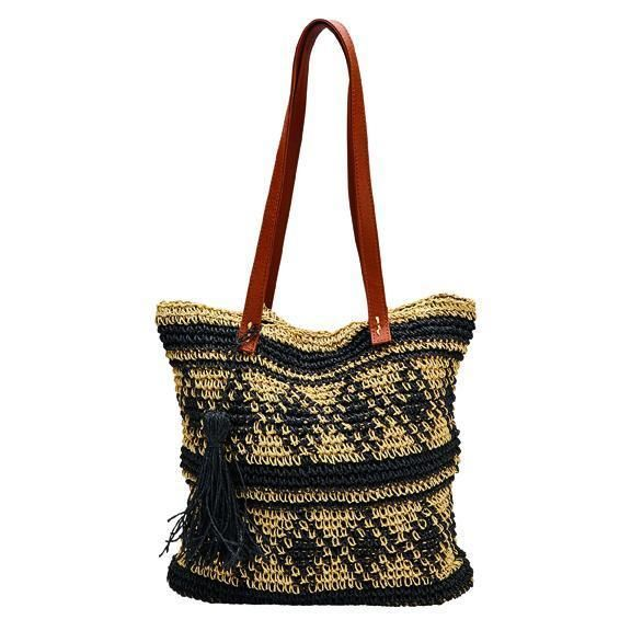BSB1726-WOMENS PAPER TOTE WITH PLEATHER HANDLE AND TASSLE  -  BLACK   -  WOMENS O/S