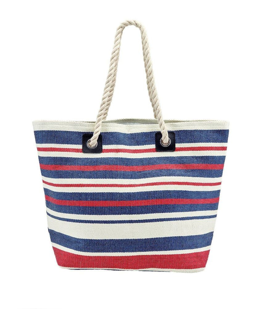 BSB1704- WOMENS WOVEN STRIPED TOTE W/ ROPE HANDLES  -  NAVY/WHITE   -  WOMENS O/S