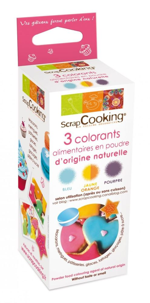 Scrap Cooking: 3 food colouring of natural origin purple / orange / blue. MOQ 5 Units @ £9.64 per unit 4008
