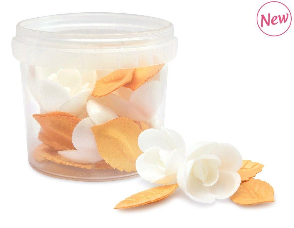 Scrap Cooking: Wafer decorations  4 roses + 8 golden leaves. MOQ 6 Units @ £4.62 per unit 2266