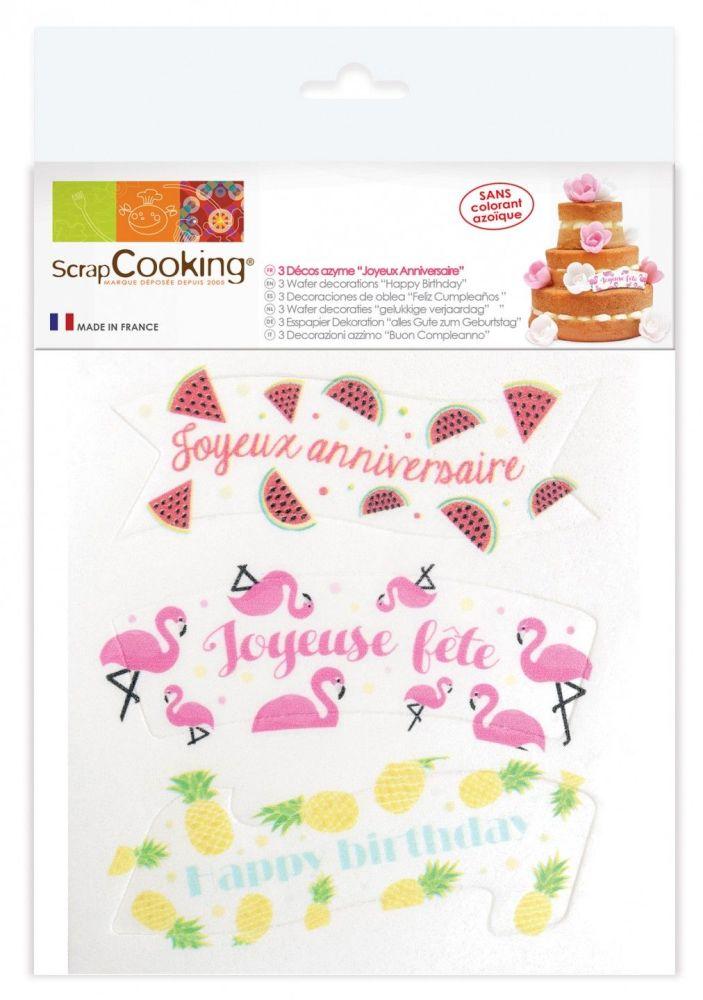 "Scrap Cooking: Wafer decorations ""happy birthday"". MOQ 10 Units @ £2.31 per unit 2271"