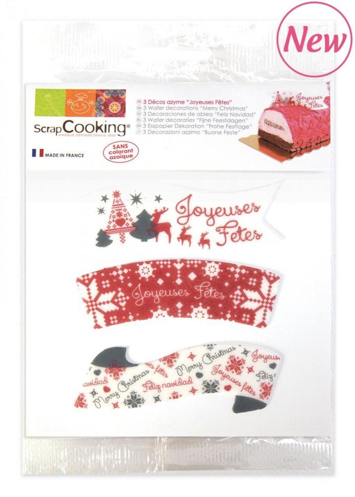 Scrap Cooking: 3 Wafer decorations « Merry Christmas ». MOQ 10 Units @ £2.31 per unit 2270