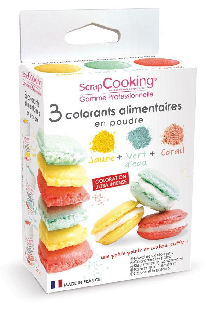 Scrap Cooking: 3 artificial colouring powders - sea green, coral, yellow. MOQ 8 Units @ £8.29 per unit 4016