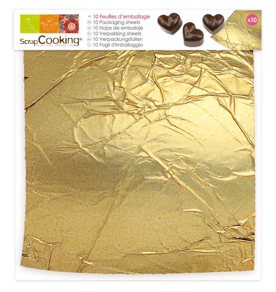Scrap Cooking: 10 golden packaging sheets. MOQ 12 Units @ £2.04 per unit 5211