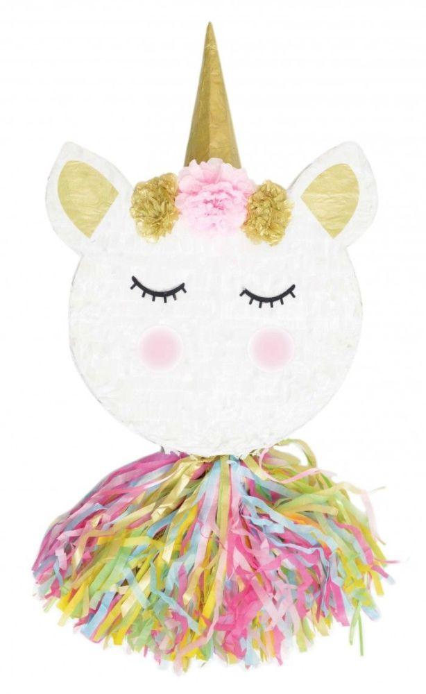 A traditional multicolored unicorn head piñata. 4 Units at £15.46 per unit