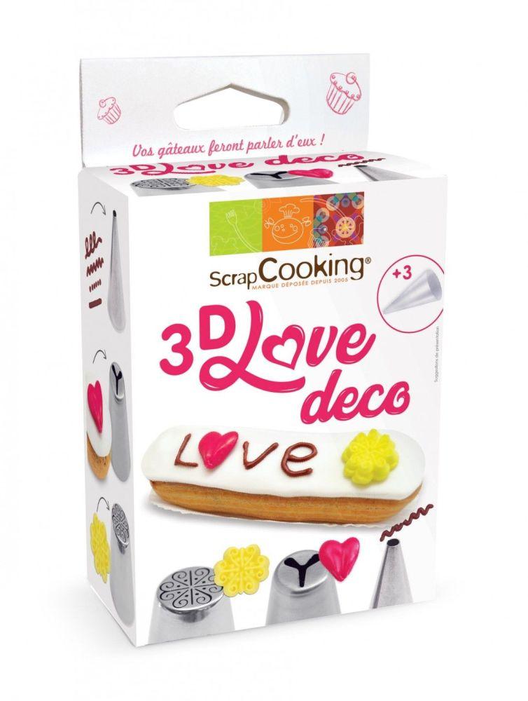 Scrap Cooking: 3D Love Deco set . MOQ 6 Units @ £8.02 per unit 1826