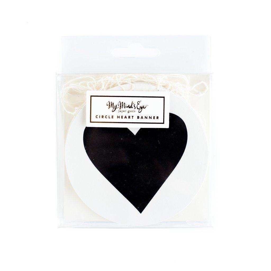 "My Mind's Eye ""Black & White  Mini Banner-Circle Heart"". 3 Units."