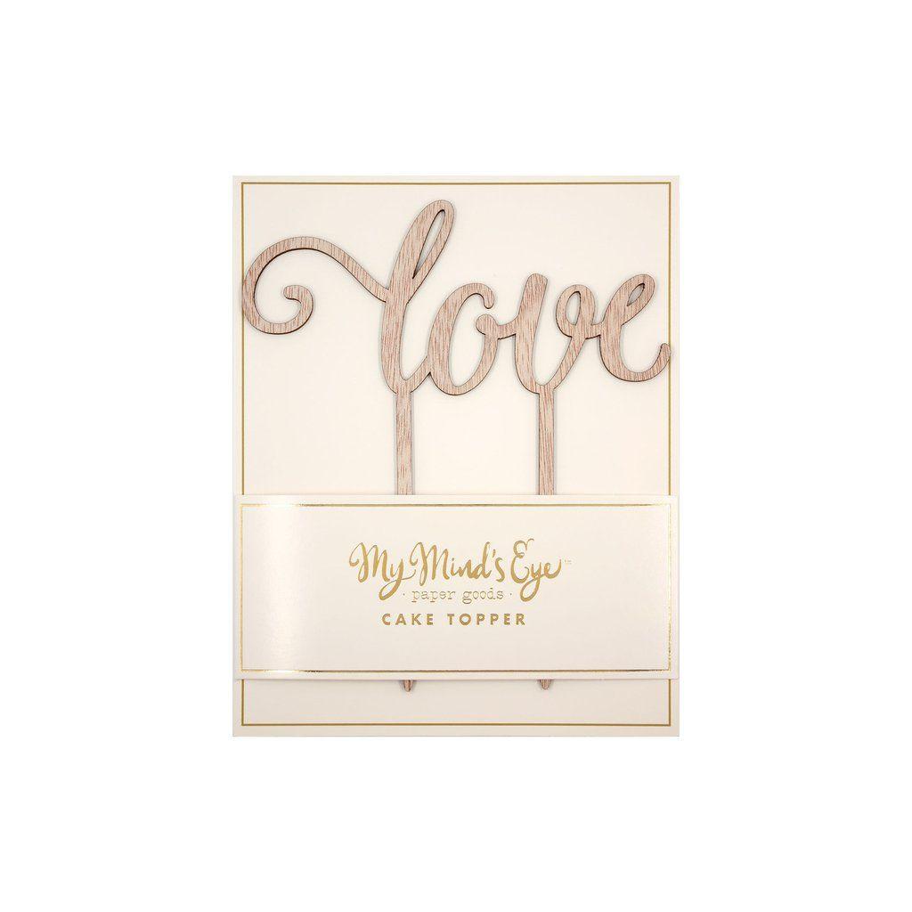 """My Mind's Eye """"Botanical Love  Wood Cake Topper"""". 3 Units."""