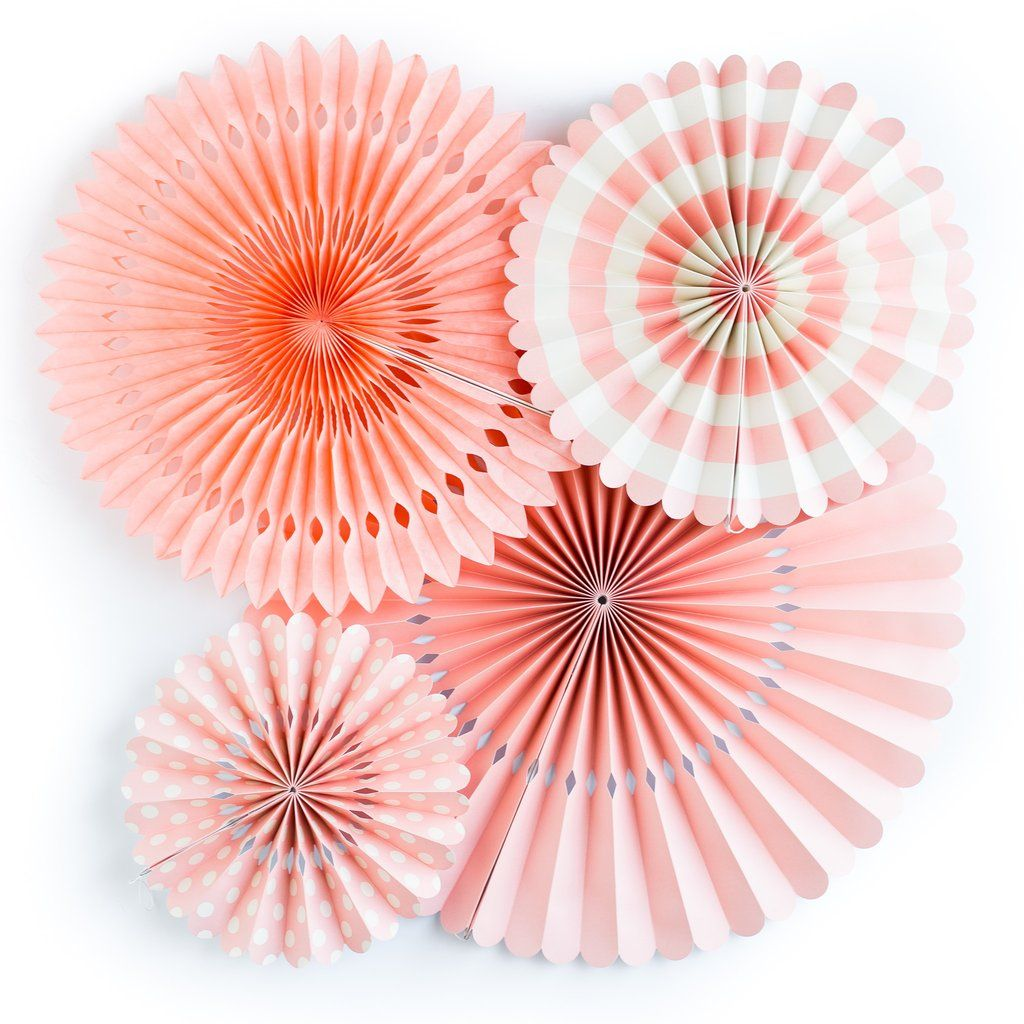 My Mind's Eye Basics Party Fans-Coral. 3 Units.