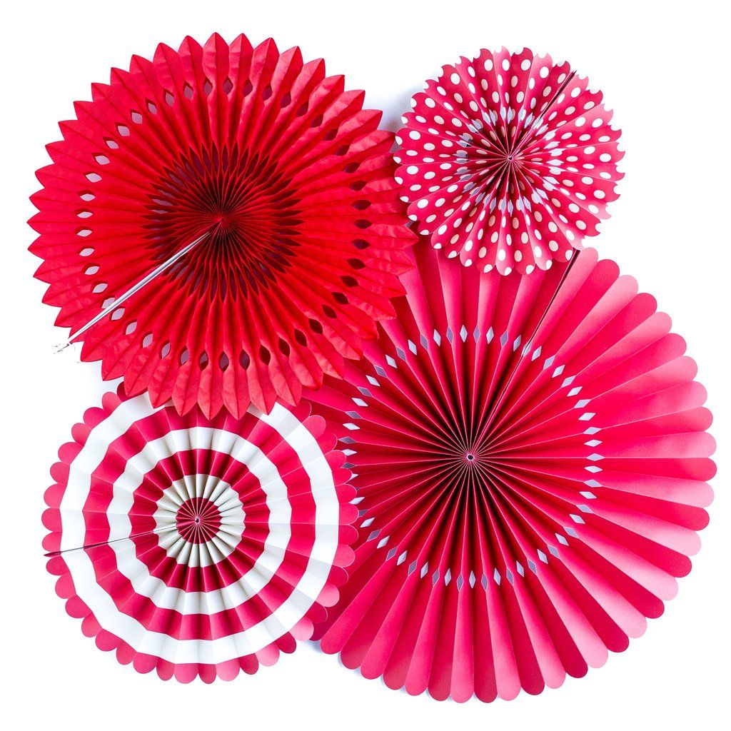 My Mind's Eye Basics Party Fans-Red. 3 Units.