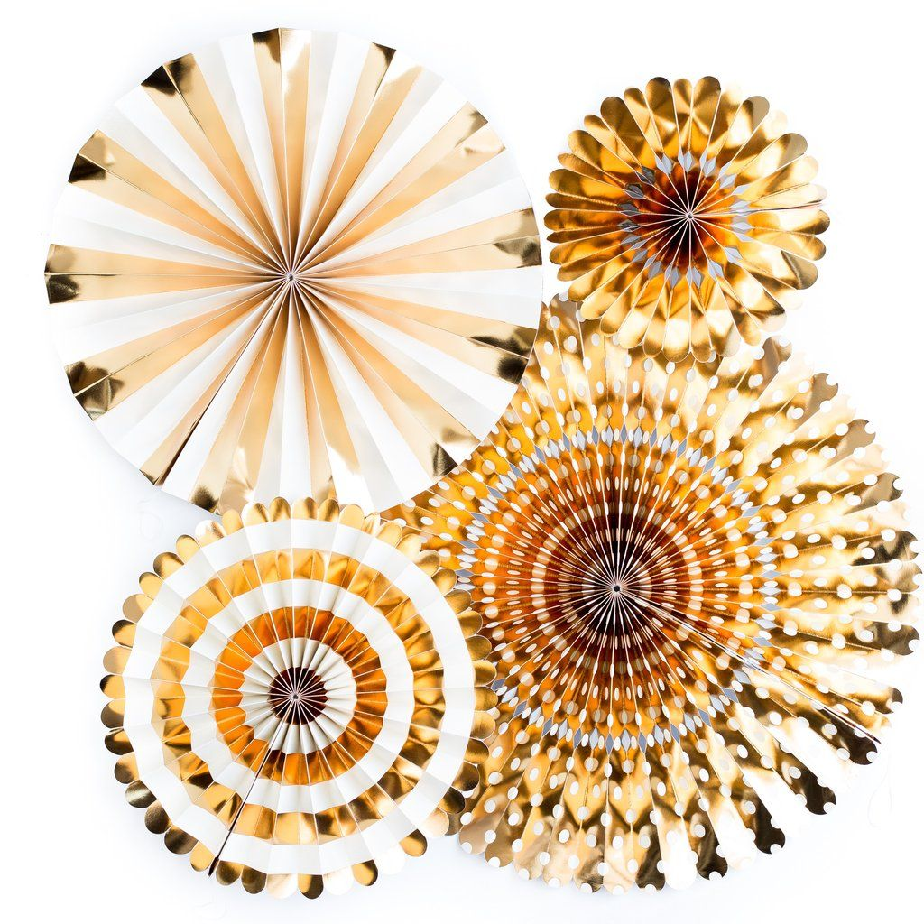My Mind's Eye Basics Party Fans-Gold. 3 Units.