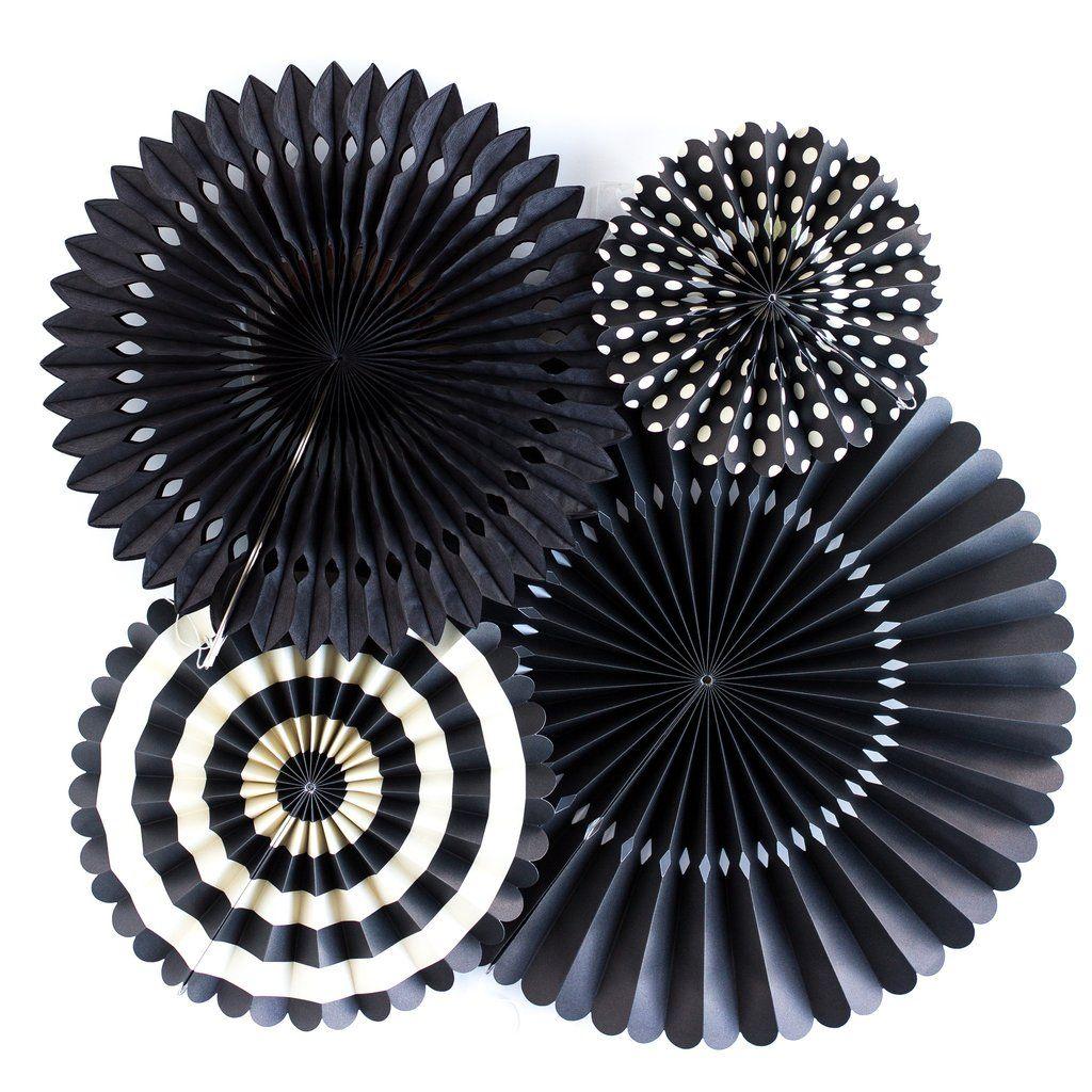 My Mind's Eye Basics Party Fans-Black. 3 Units.