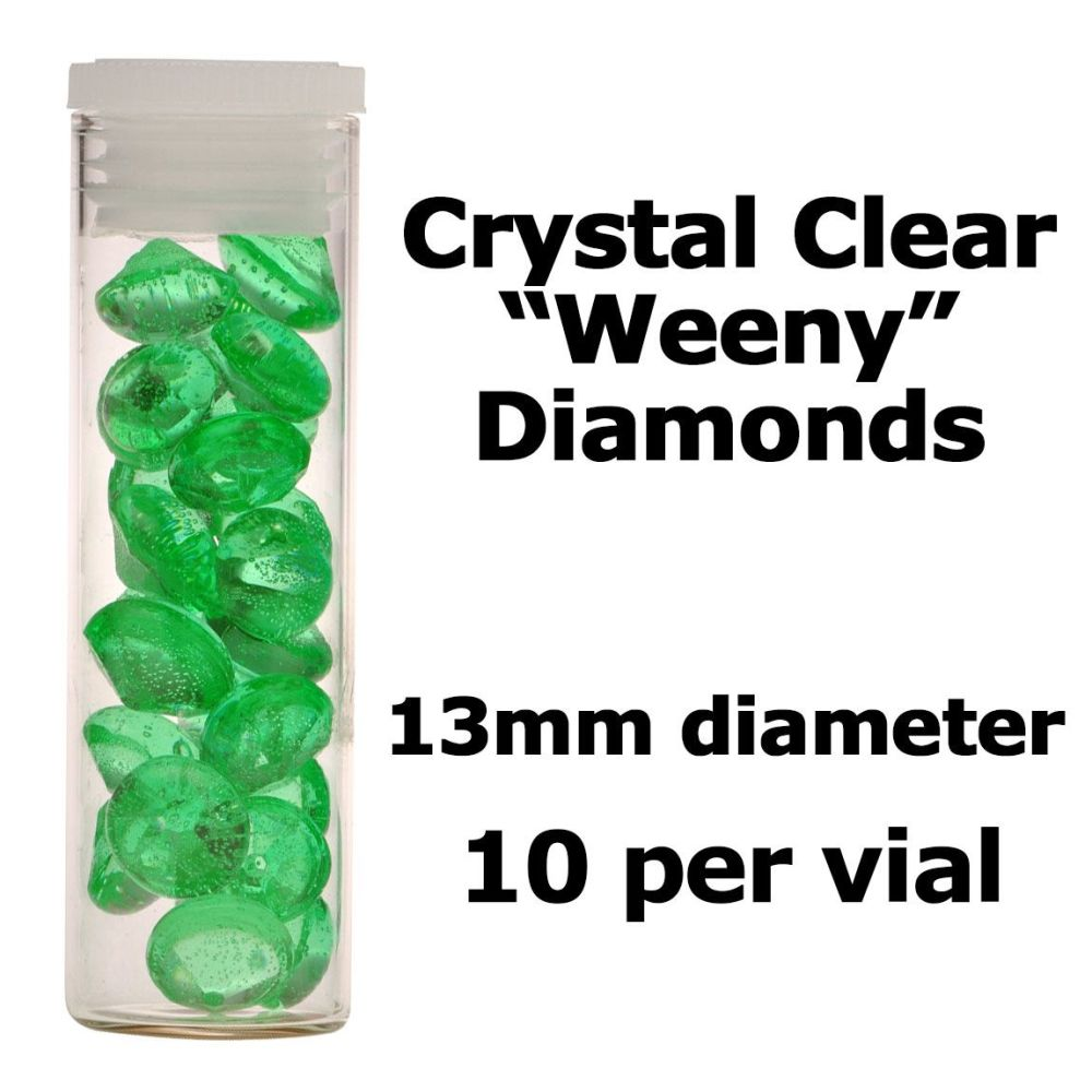 Crystal Candy Edible Isomalt Diamonds: 13mm. Marina Green