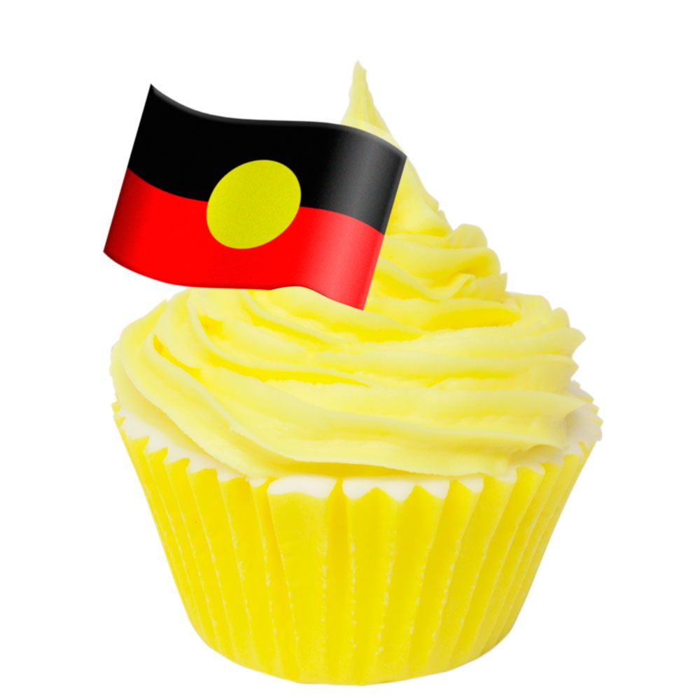Pack of 12 Edible Wafer Decorations - Australian Aboriginal Flag