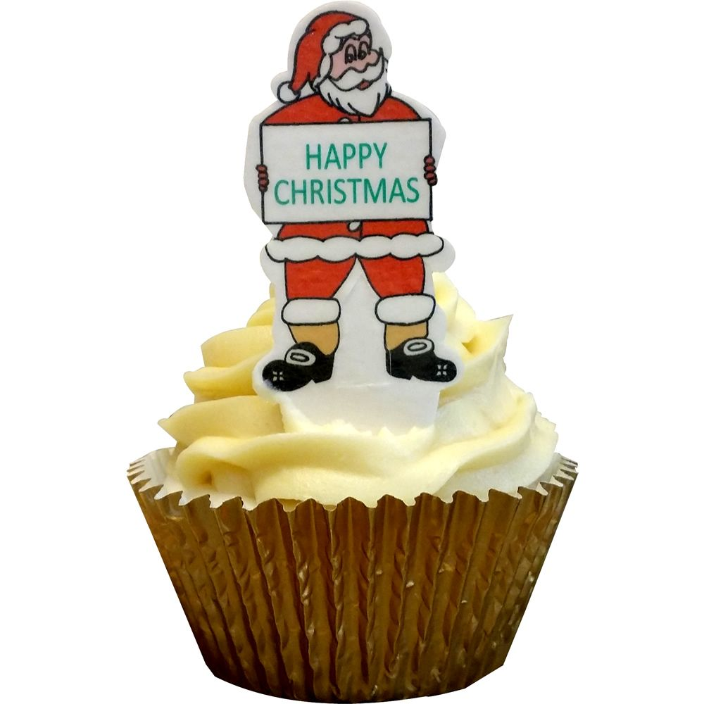 Pack of 12 Edible Pre-Cut Wafer Decorations - A Message From Santa