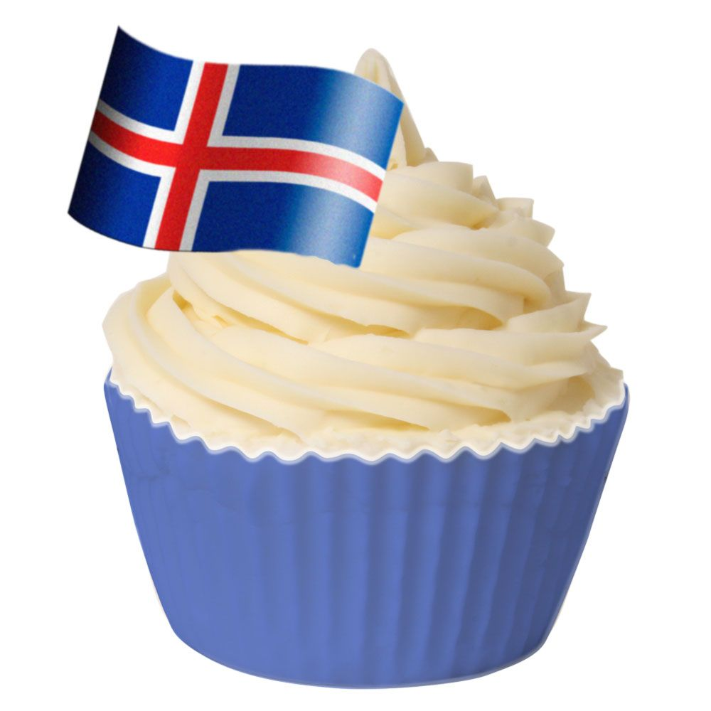 Pack of 12 Edible Wafer Decorations - Icelandic Flag