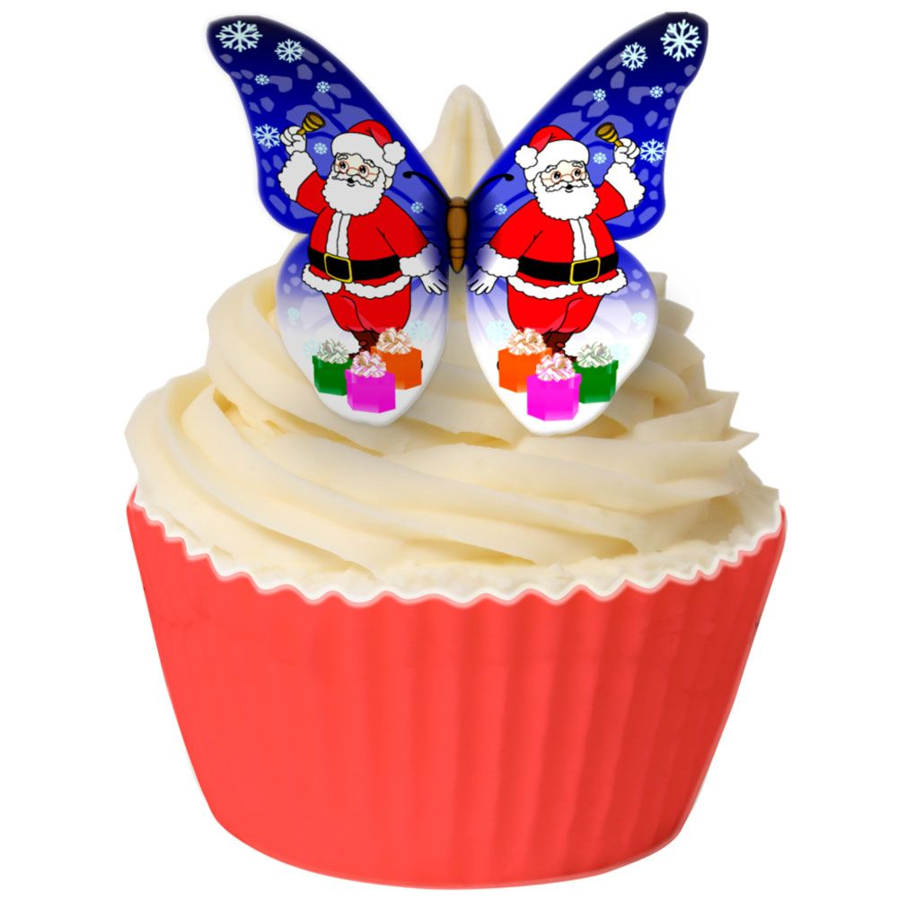 Pack of 12 Pre Cut Edible Wafer Decorations - Santa Claus Butterfly