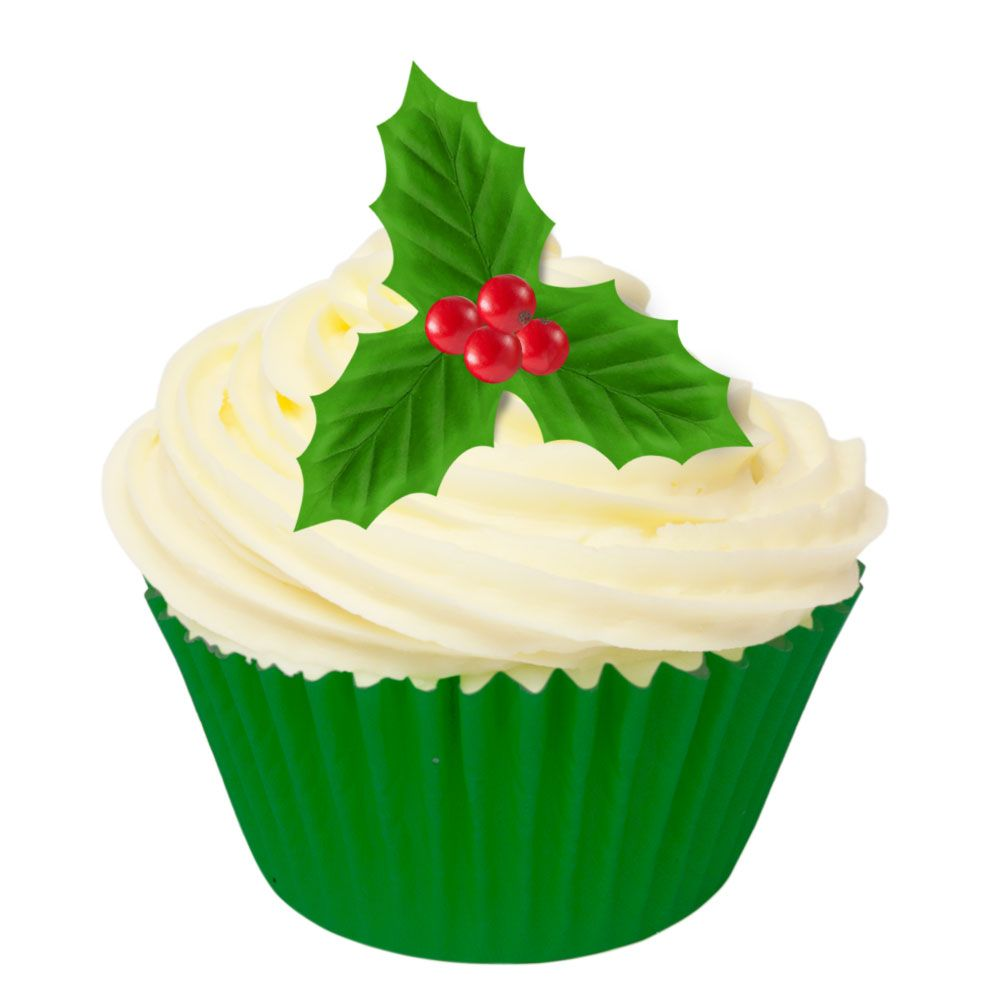 Pack of 12 Pre-Cut Edible Wafer Decorations - Holly Leaves & Berries