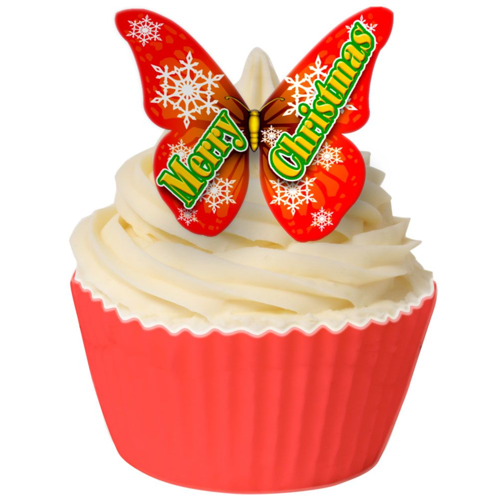 Pack of 12 Pre-Cut Edible Wafer Decorations - Merry Christmas Butterfly
