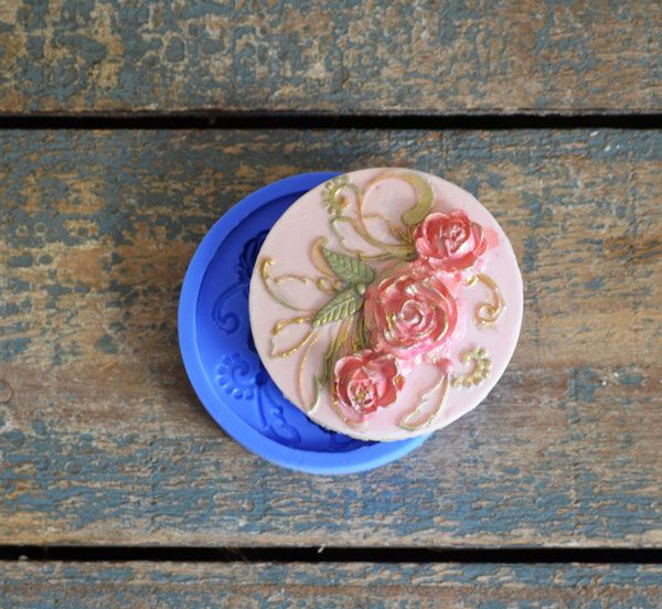 Crystal Candy Cupcake/ Cookie Bas Relief Mould: Roses of Summer