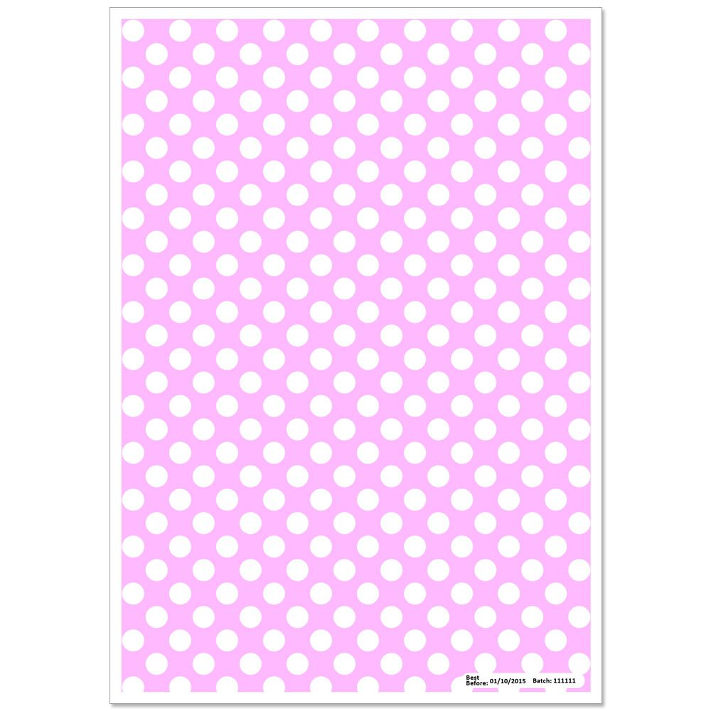 Patterned Paper(A4) - White Polka Dots - Baby Pink. Pack of 6