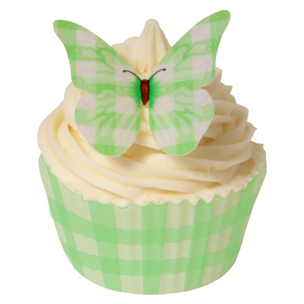 CDA Wafer Paper Pack of 12 Green Gingham Design Butterflies